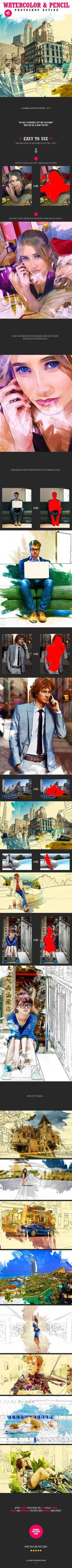Watercolor & Pencil Photoshop Action #photoeffect Download: http://graphicriver.net/item/watercolor-pencil-photoshop-action/14169783?ref=ksioks