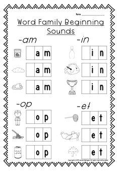 Beginning Sounds Word Family worksheet. This is part of Beginning Sounds packet. Kindergarten