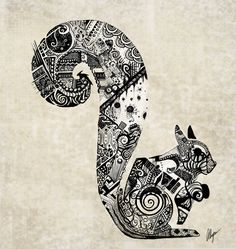 zentangle Squirrel by ~somethinkindepth