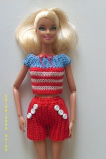 Crochet for Barbie (the belly button body type) Free Crochet Patterns for Barbie doll - Nautical  Shorts