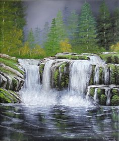 How Oil Painting Waterfall Scenery, Waterfall Paintings, Scenery Paintings, Nature Paintings, Beautiful Paintings, Beautiful Landscapes, Art Nature, Abstract Landscape Painting, Landscape Art