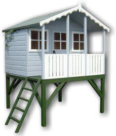 wooden playhouse on stilts