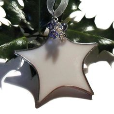 Stained Glass Christmas Tree Decoration, White Stained Glass Star, Blue Beads £5.50