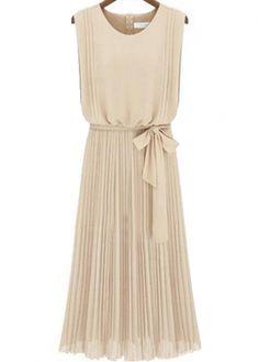 Graceful Apricot Round Neck Sleeveless Dress for Lady