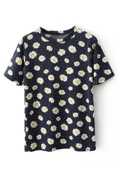 ROMWE | ROMWE Daisy Print Short Sleeves Dark-blue T-shirt, The Latest Street Fashion