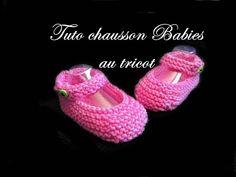 Tuto chausson babies pour bébé au tricot.