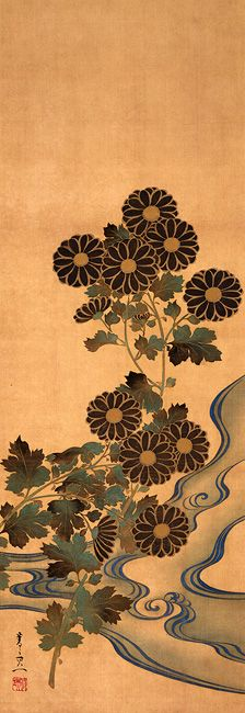 鈴木其一 Suzuki KIITSU 1796–1858 Chrysanthemums and Stream Edo Period (1615-1867 A.D.) Hanging scroll(s), ink and color on silk 93.5 x 32.5 cm Rinpa School 琳派 1984.3