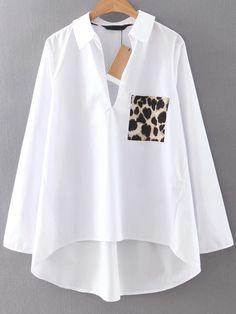Blouse avec poche imprimé léopard - blanc -French SheIn(Sheinside)