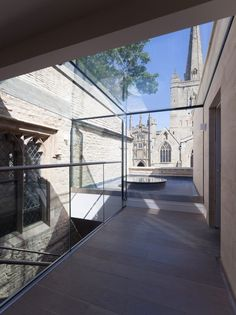 Medieval church hall renovation features light-filled extension and glazed walkway Church Architecture, Interior Architecture, Interior Design, Glass Structure, Zaha Hadid Architects, Minimal Home, Church Design, House Extensions, Walkway