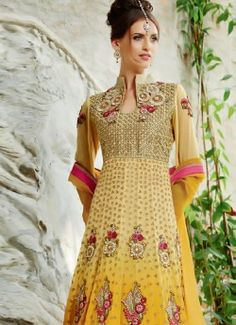 Desirable Cream And Yellow Shaded Pure Georgette Anarkali Suit