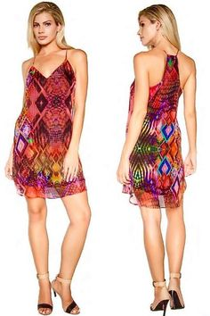 Colorful Diamond Print Occasion Dress ($165) If diamonds are a girl's best friend, this smoldering diamond patterned piece is sure to be your bestie for life! Float across any room in this easy-breezy layered chiffon dress. The eye-catching, colorful print will stop people in their tracks. They won't be able to help but stare!