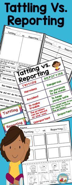 ReportingStudents will sort tattling vs. Penguin Books, Sight Words, Public School, Tattling Vs Reporting, Elke Bräunling, Cut And Paste Worksheets, Teacher Helper, Classroom Activities, Classroom Ideas