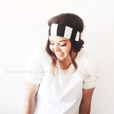 Bold stripe head wrap black and white wide by Bloombyhaleyanne