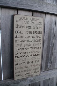 Primitive Grandparents house Rules Sign Typography by Wildoaks,  I think that about covers them all....