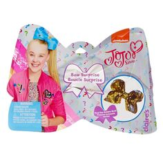 Jojo Siwa Bow Surprise Blind Pack | There are 6 possible shimmery bows you can get. They are all colorful and bright and the perfect addition to your ponytail. Possible designs include: zebra chic, magnificent mint, uniquely unicorn, R-E-S-P-E-C-T, golden girlie, and midnight glamour. Find the special Golden Bow with Jojo Siwa's autograph inside! Will you be one of the lucky few who received the Golden Bow. Only a limited quantity of golden bows are available starting on Black Friday.