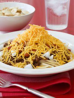 Cincinnati Chili recipe from Food Network Kitchen (Saute onions with S&P, 1 TBSP Allspice, ! TBSP Cloves)