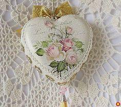Большое интерьерное сердце ' Мелодия нежности' - шебби шик, дизайнерская подвеска/кашпо. МегаГрад - авторская ручная работа