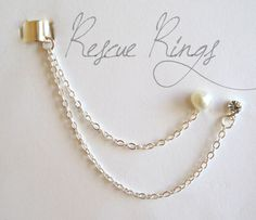 Heart Pearl and Rhinestone Ear Cuff Chain Earring by RescueRings, $9.50 @Abby Logue