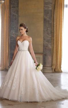 David Tutera Ballgown Wedding Dress, Lace detail on the bottom and covering the top! It's only $1,463! Love, love, love this dress!