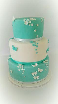 Türkise Hochzeitstorte Wedding Cake simple