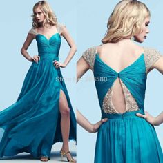 Exquisite Teal Cap Sleeve Formal Evening Gowns 2015 Side Split Chiffon Crystal Prom Dresses Robe de Soiree E6345