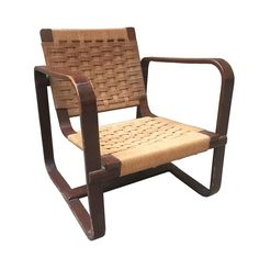 Bocconi armchair, in wood and wicker, by Giuseppe Pagano Pogatschnig & Gino Maggioni, Outdoor Chairs, Outdoor Furniture, Outdoor Decor, Armchairs For Sale, Curved Wood, Wooden Slats, Italian Style, 1940s, Lounge