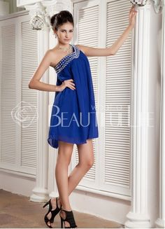 $116.49 Maureen Comfortable Satin Short One-Shoulder Imitation Crystals Beading Swing #Evening #Dress