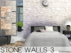 The Sims Resource: Stone walls 3 by Pralinesims • Sims 4 Downloads