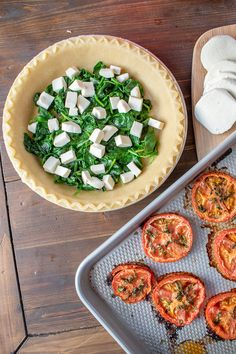 An easy quiche recipe with roasted tomatoes, mozzarella, and spinach. It's the perfect thing to serve at a brunch, and it requires minimal active preparation time. Baked Tomato Recipes, Spinach Quiche Recipes, Asparagus Quiche, Deep Dish, Fresh Eats, Tomato Mozzarella, Roasted Tomatoes, Vegetable Dishes, Cooking Recipes