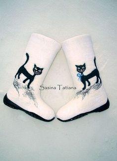"""Валенки """"Прогулка"""" - Кошки,валенки,дизайнерские валенки,белый,шерсть"""