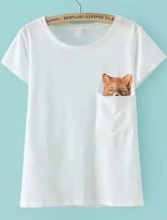 Buy Fox Print With Pocket T-shirt from abaday.com, FREE shipping Worldwide - Fashion Clothing, Latest Street Fashion At Abaday.com
