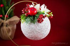 Stroik świąteczny z bombki Cotton balls – Moje Własne