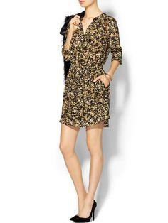 Silk Gathered Shirt Dress Product Image