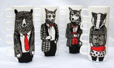IN LOVE - Hand painted set of 4 espresso cups Mr Fox by jimbobart on Etsy, $65.00