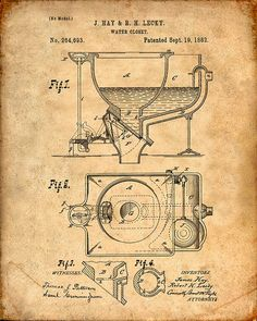 Water Closet Patent Print - Patent Art Print - Patent Poster - Bathroom Decor
