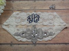 Monogrammed Garter, Rhinestone Garter, Bling Garter, Garter, Keepsake Garter, Personalized Garter, Custom Garter, Brides Garter, Wedding by BloomsandBlessings on Etsy