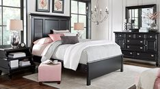 Belmar Black 5 Pc Queen Bedroom Find affordable Queen Bedroom Sets for your home that will complement the rest of your furniture. Black Bedroom Sets, Bedroom Sets For Sale, King Size Bedroom Sets, Black Bedroom Furniture, Queen Bedroom, Master Bedroom, Office Furniture, Gold Bedroom, Furniture Nyc
