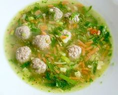 """A light and fragrant soup generously filled with vegetables, vermicelli and meatballs. I purchase my """"meatballs"""" in the frozen section of my local Dutch deli. Chopped kale (popular in Dutch cooking) can be added instead of cabbage. Meatball Soup, Meatball Recipes, Recipes With Meatballs, Dutch Kitchen, Soup Recipes, Cooking Recipes, Detox Soup, International Recipes, Soup And Salad"""