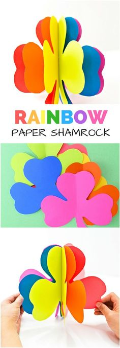 3D Rainbow Paper Shamrock Craft. Get the kids excited about St. Patrick's Day with this colorful shamrock art project. #kidscraft #papercraft #rainbowcraft #stpatricksday