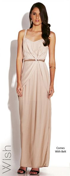 WISH Eternal Maxi  Unleash your inner diva with the Wish Eternal Maxi. This splendid Hollywood style revels in the simplicity of carefully gathered fabric and a perfectly matched belt.  100% Viscose #WishDesigns