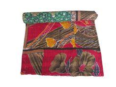 INDIAN VINTAGE KANTHA QUILT REVERSIBLE GUDARI THROW BEDSPREAD Christmas Gifts #Handmade #Transitional