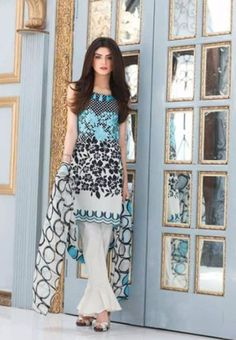 Riaz Art's #Charizma Black & White Pakistani Embroidered Lawn #Eid Suit Vol1 B&W-01A #Blue