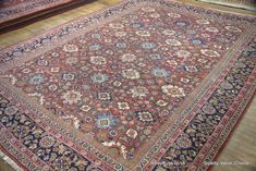 Hand Knotted Mahal Carpet from Iran (Persian). Length: 425.0cm by Width: 312.0cm. Only £4750 at https://www.olneyrugs.co.uk    Buy one of our amazing range of Turkish rugs, kilim foot stools and Kilim cushions at www.olneyrugs.co.uk