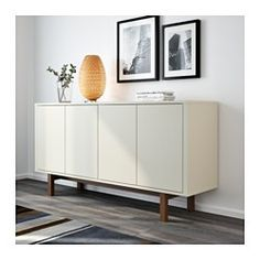 IKEA - STOCKHOLM, Sideboard, beige, , The push openers give the sideboard a clean look because you do not need any handles or knobs.Inside the sideboard are two drawers and an adjustable shelf in walnut veneer and solid wood.The sideboard stays in one place on uneven floors because it has adjustable feet.