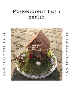 Påskeharens hus i perler - Perler, Bird, Outdoor Decor, House, Home Decor, Flowers, Creative, Decoration Home, Home