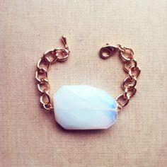 Moonstone Bracelet- Large Gemstone Bracelet Opal Bracelet Birthstone Bracelet Gold and Moonstone  Minimalist Jewelry FREE SHIPPING on Etsy, $32.00