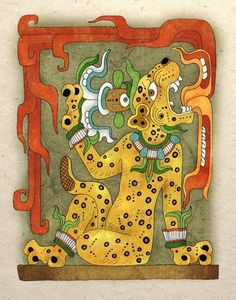 "obviously Modern--but nicely done--"" Ancient maya god called water lily jaguar. Jaguar Maya, Maya Civilization, Art Premier, Aztec Art, Mesoamerican, Mexican Art, Cultura Pop, Ancient Civilizations, Ancient Art"