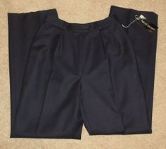 NWT Woman's Harve Benard Blue Pure Wool Lined Career Pants Dress Size 8 New Now a Low $19.87