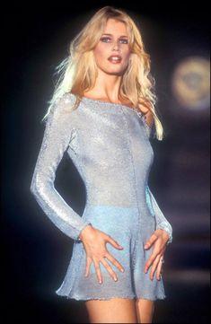goldenbuttonsnpearls: Claudia Schiffer at Versace show, 1994.