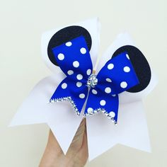 Mickey Mouse Ears Cheer Bow with Royal Blue polka dot mini bow attached! Free Shipping! Ponytail holder attached!
